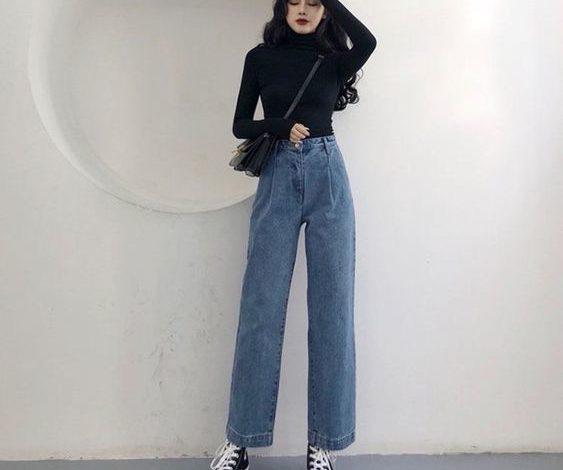 quần jean ống rộng phối với áo gì, Quần jean ống rộng phối với áo gì? TOP 11 cách làm chị em MÊ MẪN