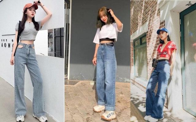 quần jean ống rộng, 10 cách phối đồ với quần Jean ống rộng CHUẨN KHÔNG CẦN CHỈNH
