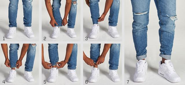 cách xắn quần jean