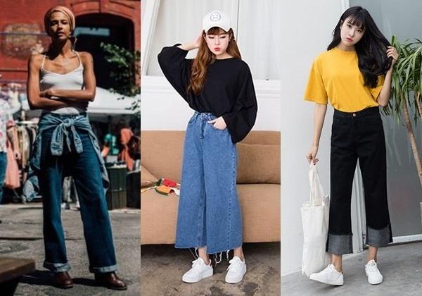 quần jean ống rộng kết hợp với giày gì, Quần jean ống rộng kết hợp với giày gì và những trang phục nào?