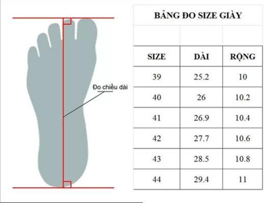 bảng đổi size giày