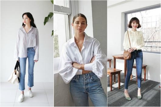 phối áo sơ mi trắng với quần jean, Những cách phối áo sơ mi trắng với quần jean và các item khác cực XINH