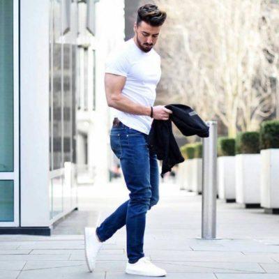 phối đồ với quần jean xanh nam