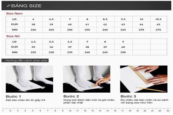 size giày nữ chuẩn, Bảng đo Size giày nữ chuẩn cho những tín đồ mua giày dép Online