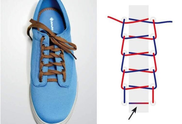 xỏ dây giày